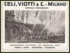 PUBBLICITA' 1918 CELI VIOTTI MILANO POMPIERI SALVATAGGIO SCALE AUTOPOMPA POMPA