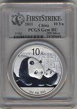 2011 Silver Panda 10 Yn ( PCGS Gem Bu 1st STRIKE)