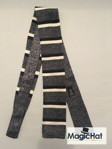 Knitted Woven Silk Italian Striped Tie by JIGSAW Brand New Grey White Black