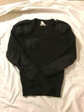 BRIGADE QUARTERMASTER Men's Black Pure New Wool Sweater Size 38 MADE IN ENGLAND