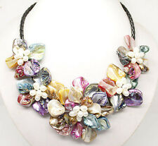 Fashion Mother of pearl Abalone Carved Multicolor Shell Flower Pendant Necklace