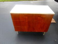 Vintage ROYAL Metal Mfg. Medical/Dental Walnut Cabinet With 3 Drawers