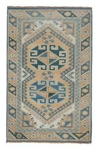 """1970s Turkish Distressed Blue Area Rug Hand Knotted Wool Oushak Rug 2'5"""" X 3'9"""""""
