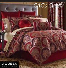 J. Queen NY SAUVIGNON 4 pc Comforter Shams Red Velvet Bedskirt Gold Burgundy NWT