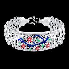 925 Stamped Sterling Silver Filled SF Flower Ball Bangle Bracelet BL-A285