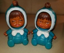 2 Vtg 1973 Iwai Co Doll 3 Changing Faces Blue Baby Squeeze Toy Made In Japan
