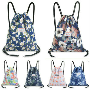 Women Floral Drawstring Backpack Storage Bag Large Capacity Yoga Swim Protable