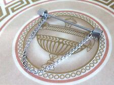 hommes 6cm argent BARRE Col Hexagone ongle - acier inoxydable épingle de cravate