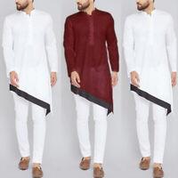 Men's Formal Clothing Saudi Arab Long Sleeve Tunic Islamic Kaftan T Shirt Top UK