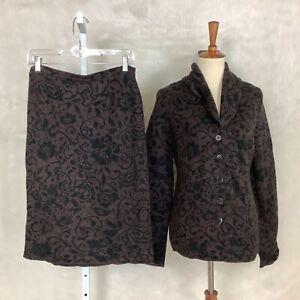 Peruvian Connection NWT Marcella Black Brown Knit Jacket & Skirt Suit Set M