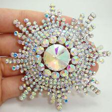 Bride Pretty Snowflake Flower Clear AB Rhinestone Crystal Bride Wedding Brooch