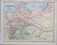 1898 Landkarte Deutsche Reich Mecklenburg Bohème Hanover Bavaria Württemberg