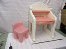 Little Tykes Vanity Desk Chair Stool Pink White With Drawer Table Stand Play