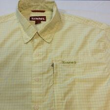 SIMMS COR3 Green Plaid Short Sleeve Button Outdoor Fishing Shirt Men's Large L