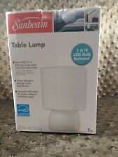 New Sunbeam White Table Lamp, with LED Bulb Included in Original Box, New