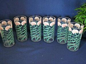 "6  Stotter Lucite Acrylic Mid Century Jumbo 6"" Tumblers Glasses CARNATION"