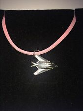 Lockheed F-117 Nighthawk C62 Stealth  Pewter Pendant on a PINK CORD Necklace