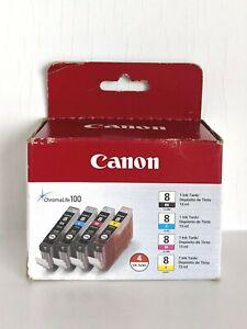 Genuine Canon CLI-8 Ink Cartridges 4 PK - Black-Cyan-Magenta-Yellow - NEW Sealed