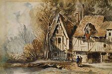 Vieilles maisons à colombages personnages Normandie Aquarelle originale fin XIX°