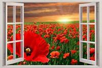 Poppy Field At Sunset 3D Window View Decal WALL STICKER Decor Art Mural Flowers