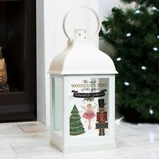 Personalised Nutcracker White Christmas Lantern - Battery Powered - Xmas Festive