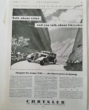 1933 Chrysler six sedan car talk about value vintage ad