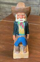 "Vintage Signed Out of the Woods Cowboy Prospector Carved Figure, 8"""