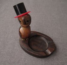 ANTIQUE 1930'S GLASS EYES TAGUA NUT WOODEN & GALALITH OWL WITH TOP HAT ASHTRAY
