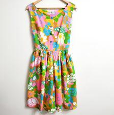 Vintage Shaker Square Bill Sims Floral Sleeveless Romper Jumpsuit Dress Wide Leg