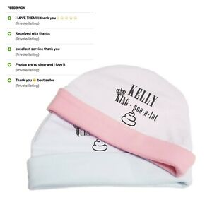 Funny Personalised Baby Girl Boy Newborn Hat Beanie Cotton Pink Blue 0-3 Months
