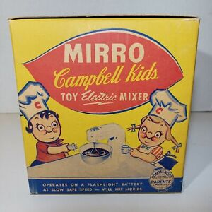 Vintage Mirro Campbell Soup Kids Toy Electric Mixer Aluminum 1950s Kitchen Toys