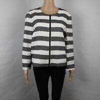 Ann Taylor Loft Black & White Striped Knitted Long Sleeve Jacket Size 14
