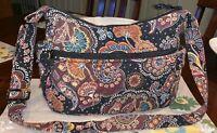 Vera Bradley Brown Paisley Shoulder Tote Bag  Floral Purse Retired