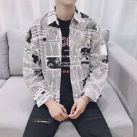Men's Casual T Shirt Summer Holiday Newspaper Print Beach Long Sleeve Tee Tops