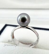 HS Pastel Silver Lavender Tahitian Cultured Pearl 8.4mm 925 Sterling Silver Ring