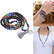 Chakra 108 Buddha Beads Lava Stone Bracelet Prayer Meditation Mala Necklace Gift