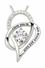 ALOV Jewelry Sterling Silver I Love You to The Moon and Back Love Heart Cubic...