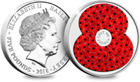 2018 Jersey Remembrance Poppy Coin £5.00 Five Pound Coin BU Encapsulated Coin