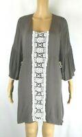 Easel Brown 3/4 Bell Sleeve 100% Rayon Tunic Shirt/ Dress Women's Sz Large EUC J