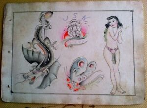 VERY RARE UNIQUE ORIGINAL VINTAGE 1920-30s BOWERY TATTOO FLASH SHEET