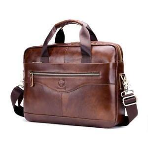 Mens Business Genuine Leather Briefcase Handbag Laptop Shoulder Messenger Bag