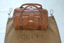 Gucci Brown Boston Monogram Leather Large Zip/Magnetic Womens Shoulder Handbag