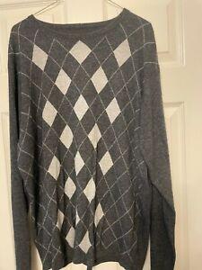 Next Mens Cashmere Grey Argyle Jumper Size Large