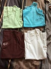Jersey Tops Bundle M&s Bhs Cotton Traders X 4 White Burgundy Mint Size 22/24