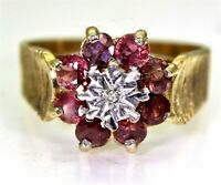 Vintage Ruby & Diamond 9ct Yellow Gold Cluster ring size N ~ 6 3/4