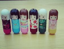 12 kimono doll lip balm scented flavoured gloss lipstick girls party bag fillers