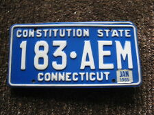 1985 85  CONNECTICUT CT LICENSE PLATE #183 AEM NATURAL STICKER