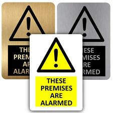 Aluminium Sign These Premises Are Alarmed Metal Notice Home Shop Alarm Security