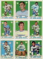 1970-71 O-Pee-Chee St. Louis Blues 9 Card Team Set P to EX (031220)