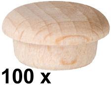 100 x Abdeckkappe Kappe Buche unlackiert Stift 14,5/15,3 mm Kopf 19,3 mm